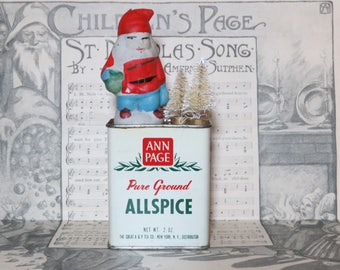 Santa Christmas Spice Tin with Bottle Brush Tree on Vintage Ann Page Allspice Can