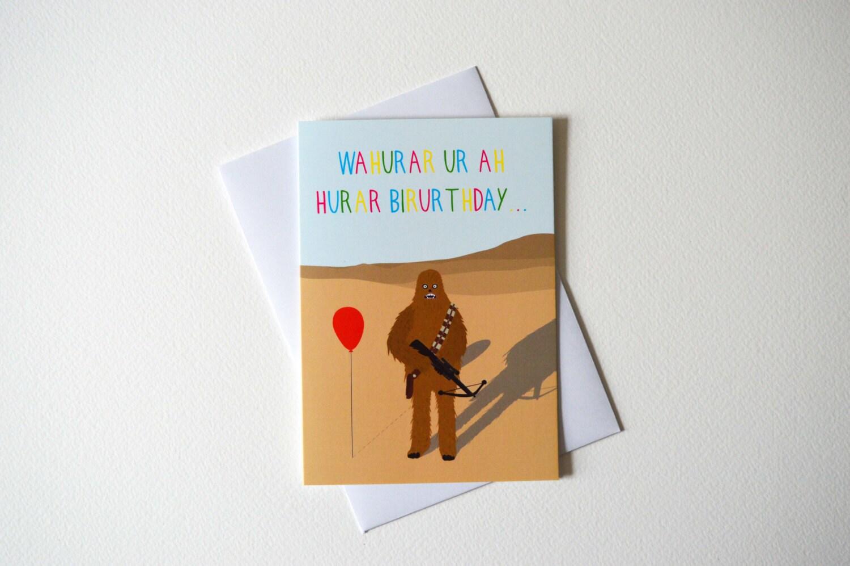 Funny chewbacca birthday card birthday card star wars zoom bookmarktalkfo Choice Image