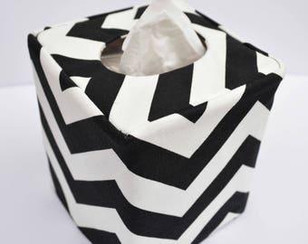 Black chevron reversible tissue box cover