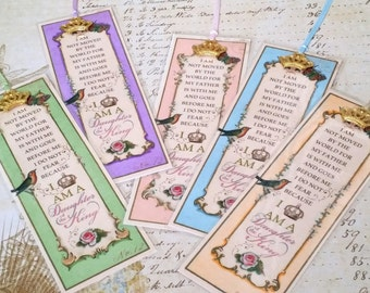"""Daughter of the King Bookmarks Princess Party Favor """"ALL COLORS"""" Set of 5 Sunday School Class gift Inspirational Gift StrengthfortheJourney"""