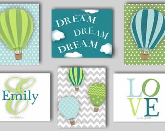 Hot Air Balloon, Balloon Nursery, Balloon Wall Art, Baby Girl Art, Baby Girl Nursery, Girl Monogram, Balloon Print, Choose Colors TRAB03