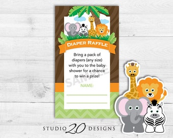 Instant Download Safari Diaper Raffle Baby Shower Game Cards, Printable Jungle Diaper Raffle, Lion Elephant Zebra Giraffe Baby Shower 57A