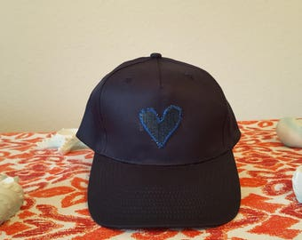 Cap Blue with knitted heart