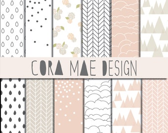 """Coral Collection Digital Papers. 8.5x11"""" & 12x12"""". Instant download. 24 PNG sheets, 300 dpi resolution. Buy 2 get one 1/2 Off!"""
