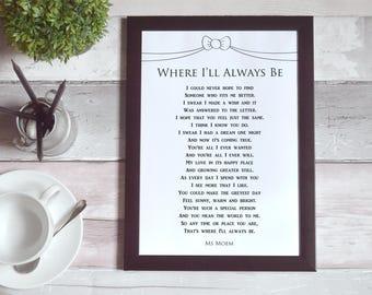 Poem Printable Where I'll Always Be | Digital Download | Wedding Vows | Romantic Keepsake | Love Poetry | Ms Moem