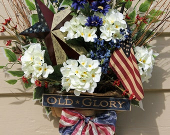 Patriotic Door Hanging, Patriotic Wreath, Americana Wreath, Flag Wreath, Patriotic Decor, 4th of July Wre