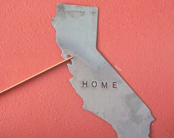 California - state map outline - metal art