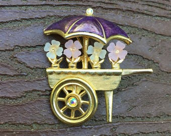 Vintage Signed Jewelry Lia Flower Cart Pin Brooch