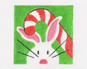 Candycane and The White Bunny Needlepoint Square - Jody Designs  WB11