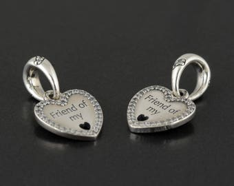 New Authentic Pandora Charm Bead Hearts Of Friendship Dangle 792147CZ