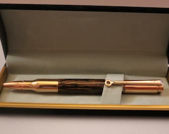 Hand Turned 30 Caliber Bullet Pen - Tiger wood