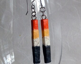 Delicate Hanji Paper Earrings OOAK Patchwork Striped Boho Orange Yellow White Black Hypoallergenic hooks Dangle Long Earrings Lightweight