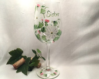 Free shipping Personalizable hand painted floral wine glass for sisters or friends and family members and bridesmaidd.