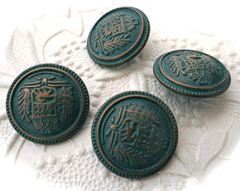 Copper Verdi Gris Buttons 4 Costume Buttons Sewing Notions BT-113