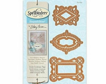 Spellbinders Detailed Cutting Die Set S4-613 Shapeabilities by Stacey Caron ~Circle Contempo Tags~