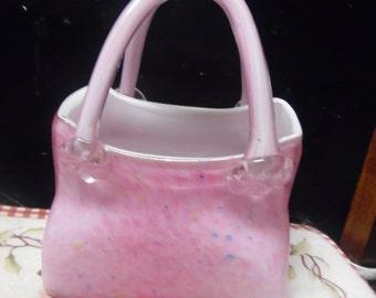 Vintage Pink Blown art glass handbag purse vase Mothers Day Gift