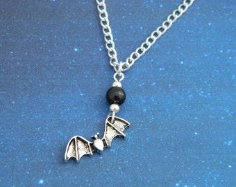 Halloween Necklace, Bat Necklace, Bat Charm, Vampire Necklace, Vampire Jewellery, Vampire Bat, Bat Jewelry, Mens Necklace, Leather Necklace