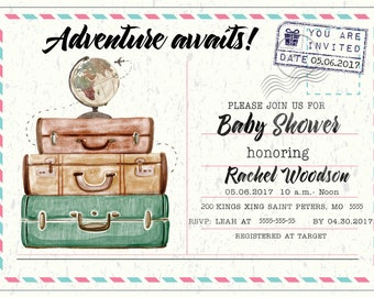 Adventure Awaits Travel baby shower invitation travel themed baby shower welcome to the world baby shower suitcase baby shower invitation