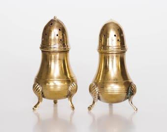 Vintage Brass Salt Pepper Shaker Set