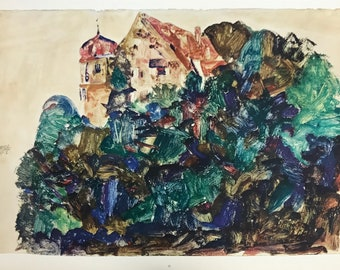 """Schiele Egon, 31, Lithograph, """"The old castle in Bregenz"""" printed 1968,  paper 20 x 14 inch"""