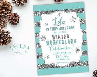 Winter Birthday Invitation, Winter Party, Winter Invitation, Winter Onederland, Glitter Birthday Invitation