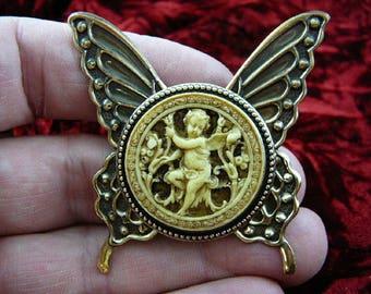 Cherub Angel in garden tan + ivory Cameo butterfly repro Brass Pin Pendant Jewelry brooch necklace CS54-11