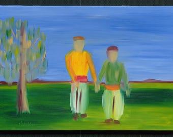 Two Arab Men Holding Hands