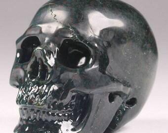 """Stunning Memento Mori Carved Ocean Jasper Stone Skull Figure 2.1"""" Healing Pendant"""