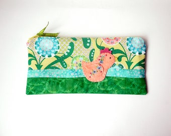 "Zipper Pouch, 4.5x9.5"" in blue, green, yellow and teal floral print fabric with Handmade Felt Chicken Embellishment, Chick Zipper Pouch"