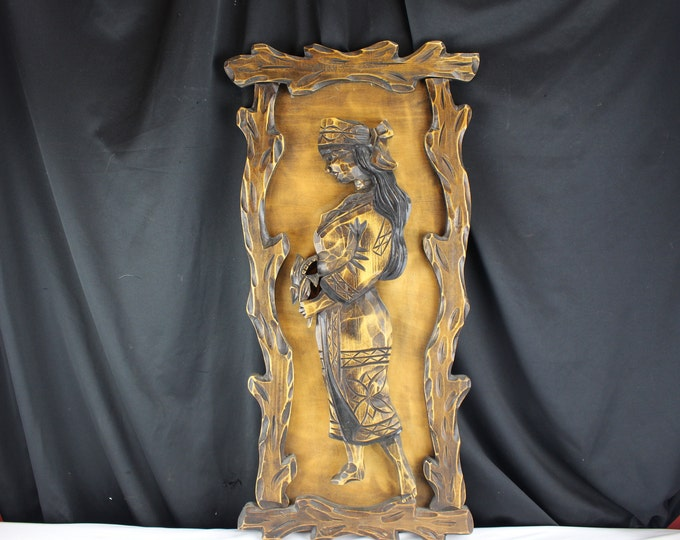 Vintage Burned and Carved Wood Wall Hanging Polynesian Women Hawaii Island Decor