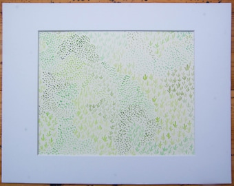 Muted Moss 9x12 watercolor painting (matted to 8x10)