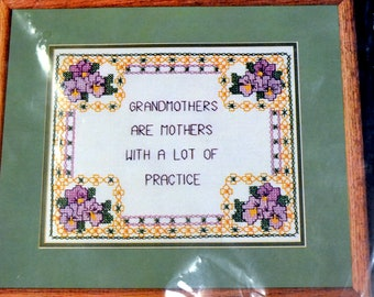 Golden Bee Grandmothers Are Mothers  Stamped Cross Stitch Embroidery Kit Fiber Art Kit  Embroidery Fiber Art Finished Size 10 x 8 inches