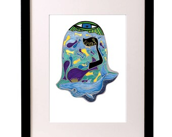 Hamsa Hand Print, Kabbalah Art, Eye Art, Whale Art, Hebrew Typography, Leviathan Art,Water Art,Modern Jewish Art, Judaica Art,Fish Art Print