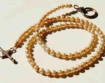 Single Strand Round Glass Pearl Necklace With Copper Accents and Copper Toggle Clasp