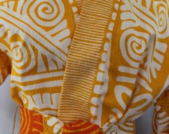 Veste de Kimono Vintage motif Tribal coton avec ceinture