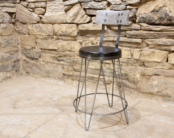 FREE SHIPPING: The Lindsey -- Charred Oak Vintage Hairpin Leg  Bar Stools with Backs