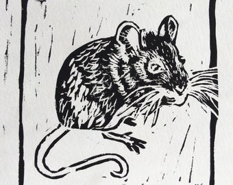 """Original, Unframed, Hand Pulled, Linocut Print - Field Mouse -  Approx 6"""" Square on A4 Paper - lino ink paper"""