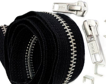 8 Yards Black YKK #5 Chain with 4 Fancy Auto Lock Sliders 8 top stops 4 bottom stops ~YKK~Aluminum~ZipperStop Wholesale Distributor YKK®