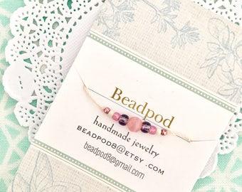 The wish bracelet make a wish bracelet minimalist barely there bracelet in pink