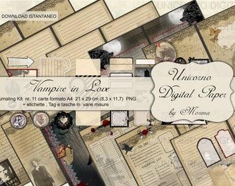 Journal Kit, Kit scrapbooking, Journal Pack, Journal Gothic,  Diario, Agenda stampabile, Gothic Vampire, Diaries, Romantic Scrapbook paper