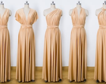 Gold Maxi Infinity Dress, Convertible Bridesmaid Dress, cheap prom dress, Evening Dress,Multiway Dress, Wrap Dress, formal Dress