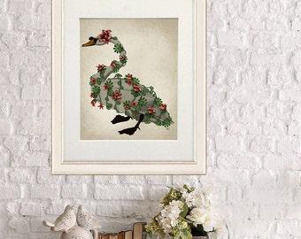 Swan Print - Bound Swan on Cream - swan art swan decor swan queen gift for bird lover Bird décor swan gift bird gift bird wall art