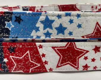 Red, White, and Blue Glitter Stars- Dog Collar