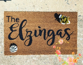 Custom Family Door Mat, Wedding gift, Housewarming gift, Home Decor, Personalized