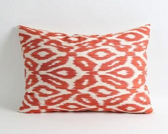 ikat pillow cover Orange white ikat throw pillow decorative throw pillow cover 14x20 accent pillow sofa pillow