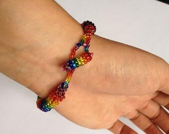 Rainbow Bead Rope Bracelet - Woven/ Bead Crochet