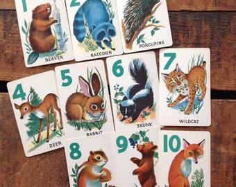 Vintage Cute Animal Cards - Set of 10 - Animal Rummy - Altered Art, Junk Journal Cards, Scrapbooking, Mixed Media, Collage, Paper Ephemera