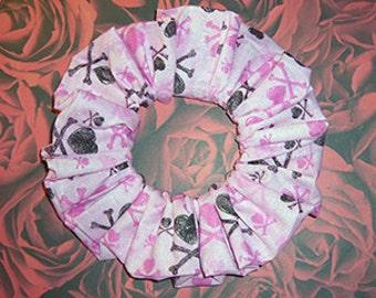 Love Crossbones Hair Scrunchie, Gothic/Lolita Ponytail Holder, Glitter Accented Fabric Hair Tie