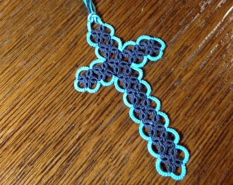 Tatted Cross Bookmark handmade dark gray teal blue CUSTOM made at purchase