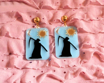 Multi-Color TAROT CARD Earrings with Gold Earring Posts / Grim Reaper / Witchy / Acrylic Death Card / Plastic Jewelry